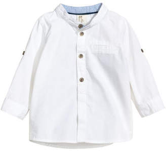 H&M Shirt with Band Collar - White