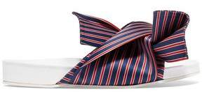 N°21 N° 21 Knotted Striped Satin-Twill Slides