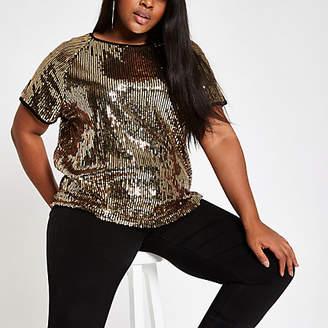 River Island Plus gold sequin T-shirt
