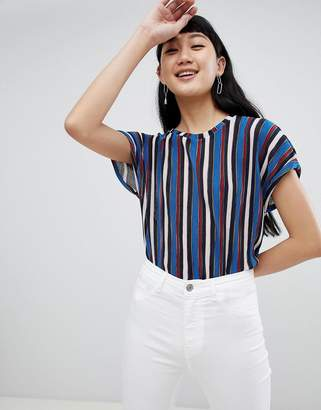 Pull&Bear multi stripe top in blue