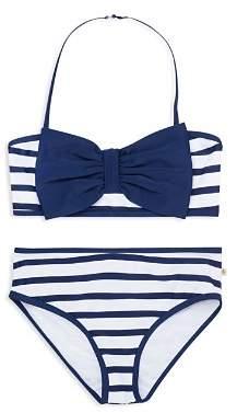 Kate Spade Girls' Georgica Bow Striped 2-Piece Swimsuit - Little Kid