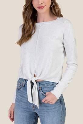 francesca's Kamryn Tie Front Sweater - Ivory
