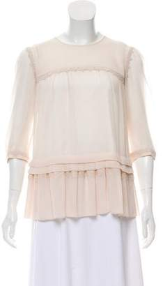 ALICE by Temperley Lace-Accented Three-Quarter Sleeve Top