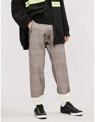 Undercover Colour-blocked knitted cotton jogging bottoms
