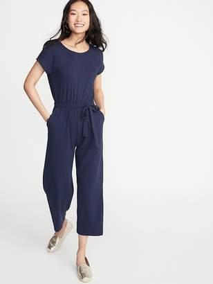 7a1a755fa4380 Old Navy Textured Bouclé Wrap-Back Tie-Belt Jumpsuit for Women