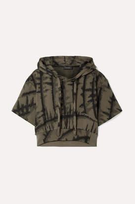 TWENTY Montréal - Hyper Reality Cropped Tie-dyed Cotton-blend Jacquard Hoodie - Dark green