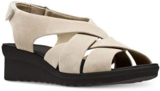 Clarks Collection Women's Cloudsteppers Caddell Jena Wedge Sandals
