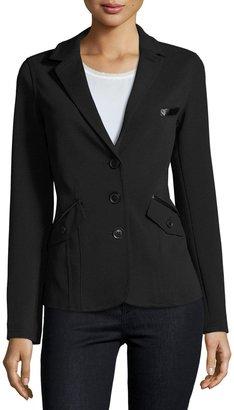 Raison D'etre Lady Faux-Leather Trim Blazer, Black $135 thestylecure.com