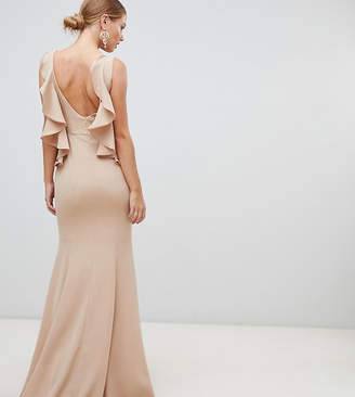Yaura ruffle open back maxi dress in taupe