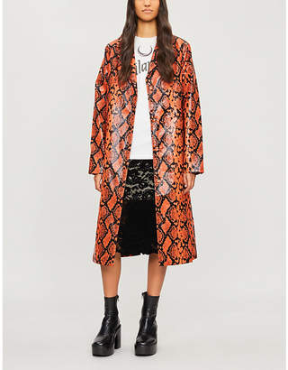Jaded London Snakeskin-print PVC coat