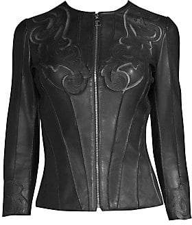Versace Women's Fitted Laser-Cut Leather Jacket