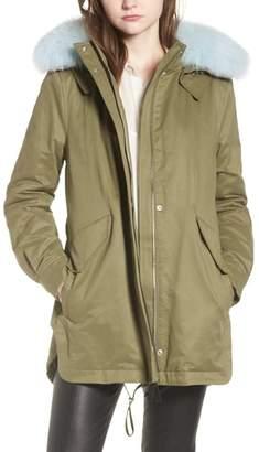 Derek Lam 10 Crosby Genuine Fox Fur Trim Cotton Blend Parka