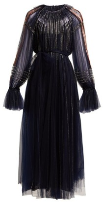 Valentino Bead Embroidered Tulle Gown - Womens - Navy Multi