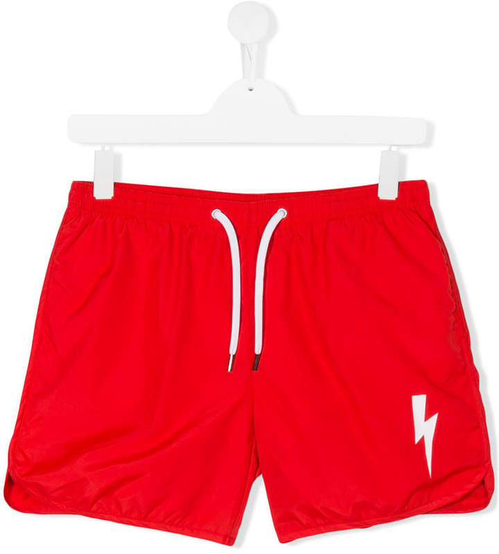 Neil Barrett Kids drawstring waist swim shorts