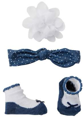 Little Me Woven Chambray Headband, Booties, & Clip Set (Baby Girls)