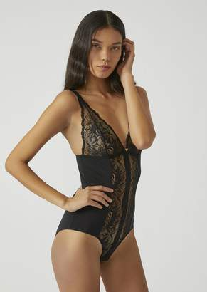 Emporio Armani Bodysuit With Tonal Lace Inserts On The Front