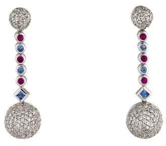 18K Sapphire, Ruby & Diamond Drop Earrings
