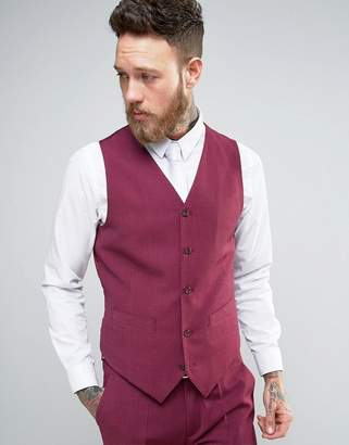 Devils Advocate Wedding Skinny Fit Burgundy Pink Vest