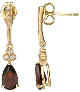 JCPenney FINE JEWELRY Red Garnet & White Sapphire Earrings