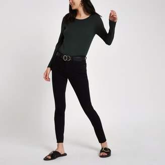 River Island Womens Green scoop neck long sleeve T-shirt