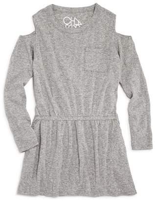 Chaser Girls' Cold-Shoulder Shirt Dress - Little Kid, Big Kid