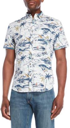 Lucky Brand Palm Print Short Sleeve Shirt
