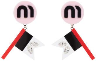 Miu Miu Pink Flag Crystal Earrings