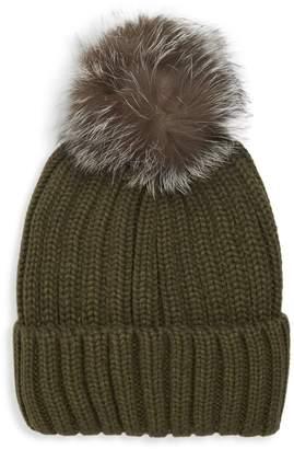 Annabelle New York Knit Fox Fur Pom-Pom Beanie