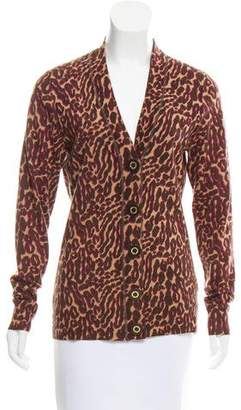 Tory Burch Leopard Printed Wool Cardigan