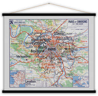 Lime Lace French Cotton Map Print Of Paris And Its Surroundings