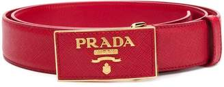 Prada Saffiano leather logo belt