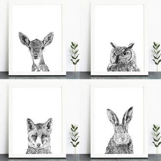 Ros Shiers A Set Of Four Woodland Animal Portrait Art Prints