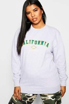 boohoo Plus California Slogan Sweat