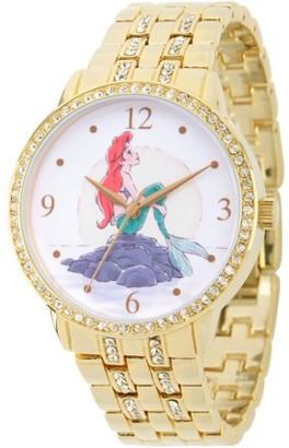 Disney Princess Ariel Women's Gold Alloy Glitz Watch, Gold Alloy Bracelet