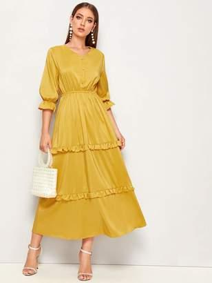 Shein Solid Ruffle Trim Elastic Waist Dress