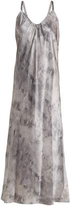 Vince Marbled-print V-neck silk-satin midi dress