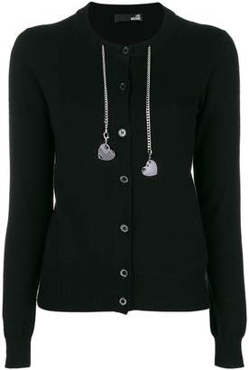 Love Moschino heart charm chain embellished cardigan