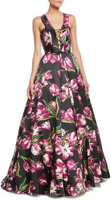 Jovani Lace-Up Floral A-Line Gown