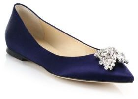 Jimmy Choo Gayne Swarovski Crystal & Satin Point-Toe Flats $850 thestylecure.com
