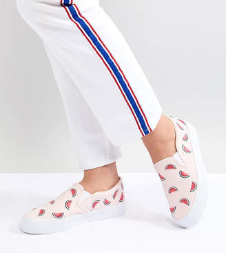 Asos DESIGN Viola Wide Fit Embroidered Sneakers