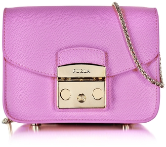 Furla Lilac Leather Metropolis Mini Crossbody Bag $298 thestylecure.com