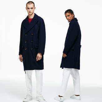 Lacoste Unisex LIVE Wool Broadcloth Buttoned Pea Coat