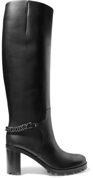 Christian Louboutin Christian Louboutin - Napeleo 70 Chain-trimmed Leather Knee Boots - Black