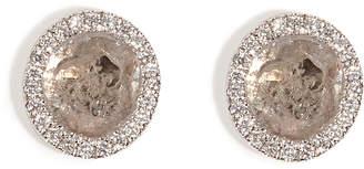 Susan Foster 14K White Gold Diamond Slice Studs with Micro Pave Diamonds