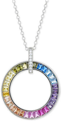 """Giani Bernini Cubic Zirconia Rainbow Circle 18"""" Pendant Necklace in Sterling Silver"""