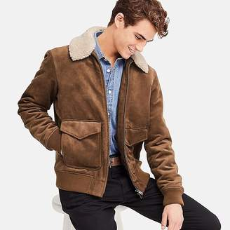 Uniqlo Men's Faux Suede Ribbed Bomber Jacket