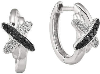 Black Diamond FINE JEWELRY 1/10 CT. T.W. White and Color-Enhanced Sterling Silver Hoop Earrings