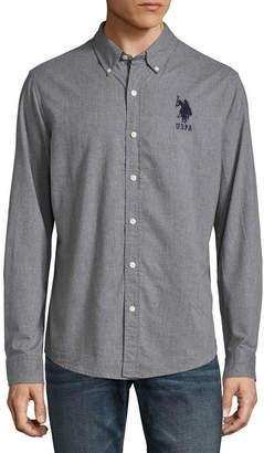 U.S. Polo Assn. USPA Slim Hthr Shirt Long Sleeve Button-Front Shirt