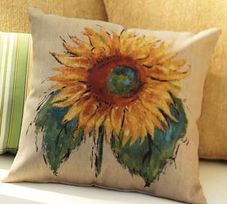 Pottery Barn Painted Sunflower Indoor/Outdoor Pillow