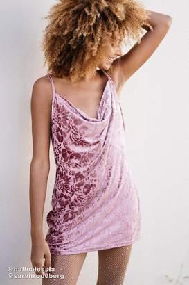 Urban Outfitters Burnout Velvet Cowl Neck Mini Dress